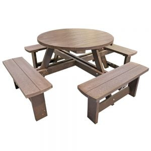 Hatfield Round Adult Brown Picnic Bench no parasol