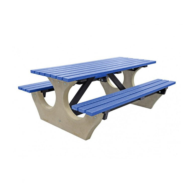 The Big Bench Recycled Plastic Blue Bench no parasol
