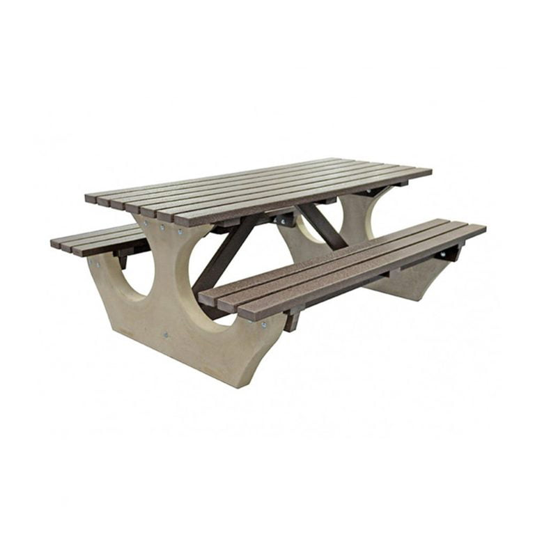 The Big Bench Recycled Plastic Brown Bench no parasol